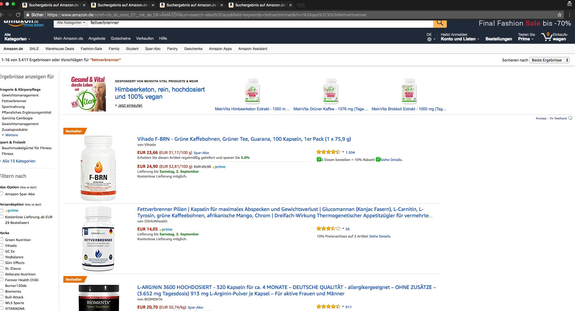 Amazon Suchergebnisse