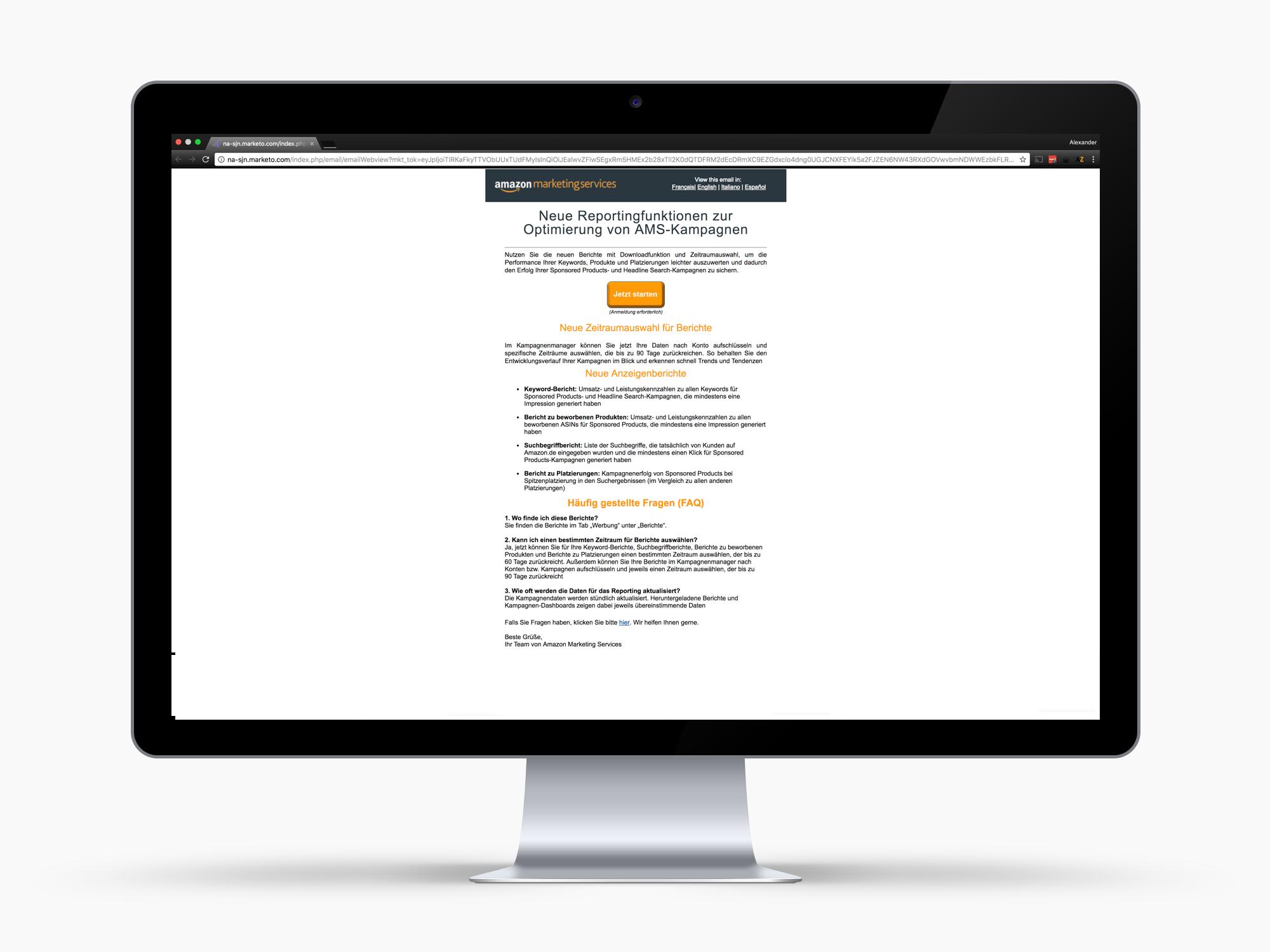 Amazon Marketing Services – Neue Reportingfunktionen zur Optimierung von AMS-Kampagnen