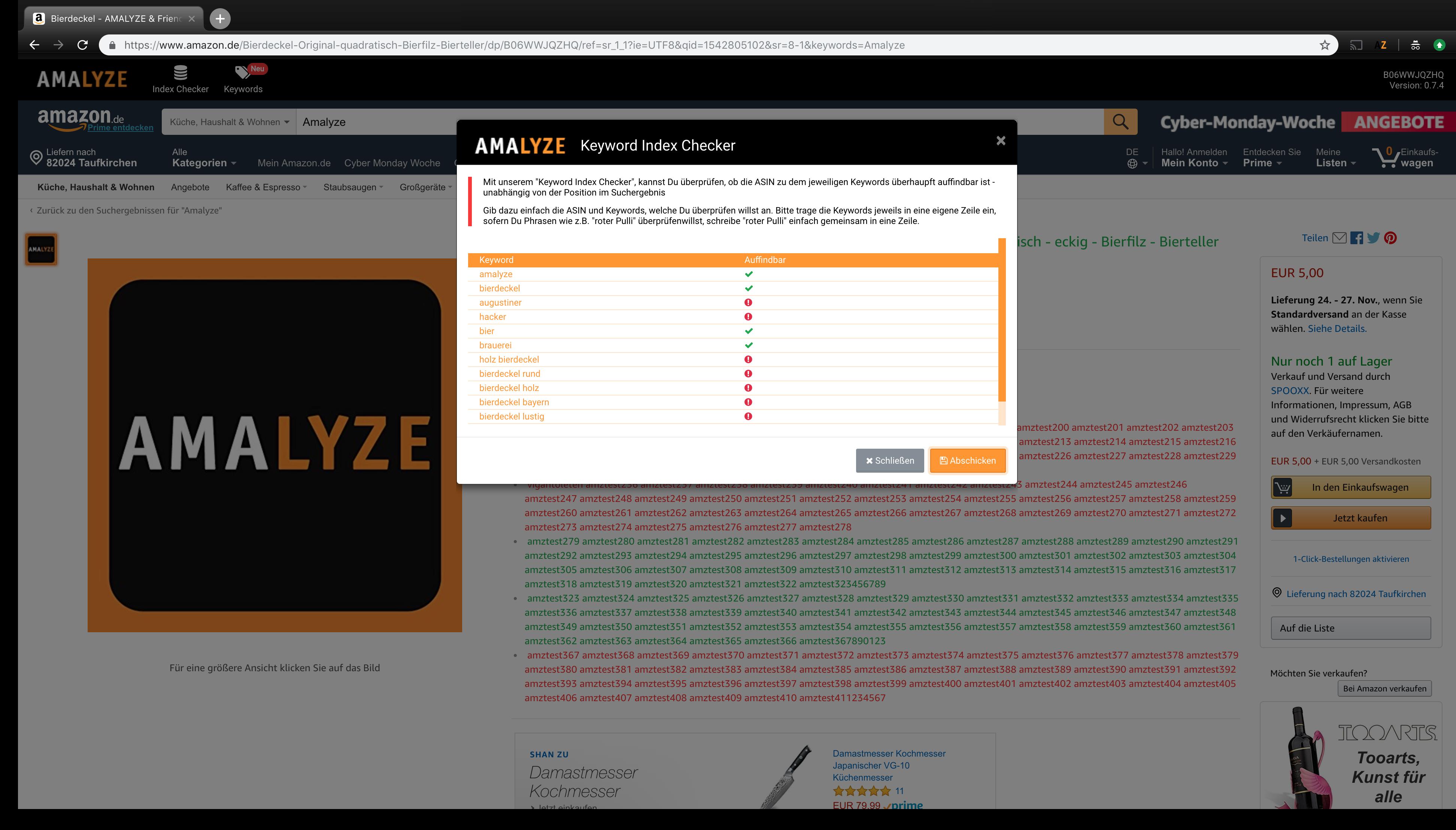 AMALYZE Index Checker - Eigene Keywords überprüfen