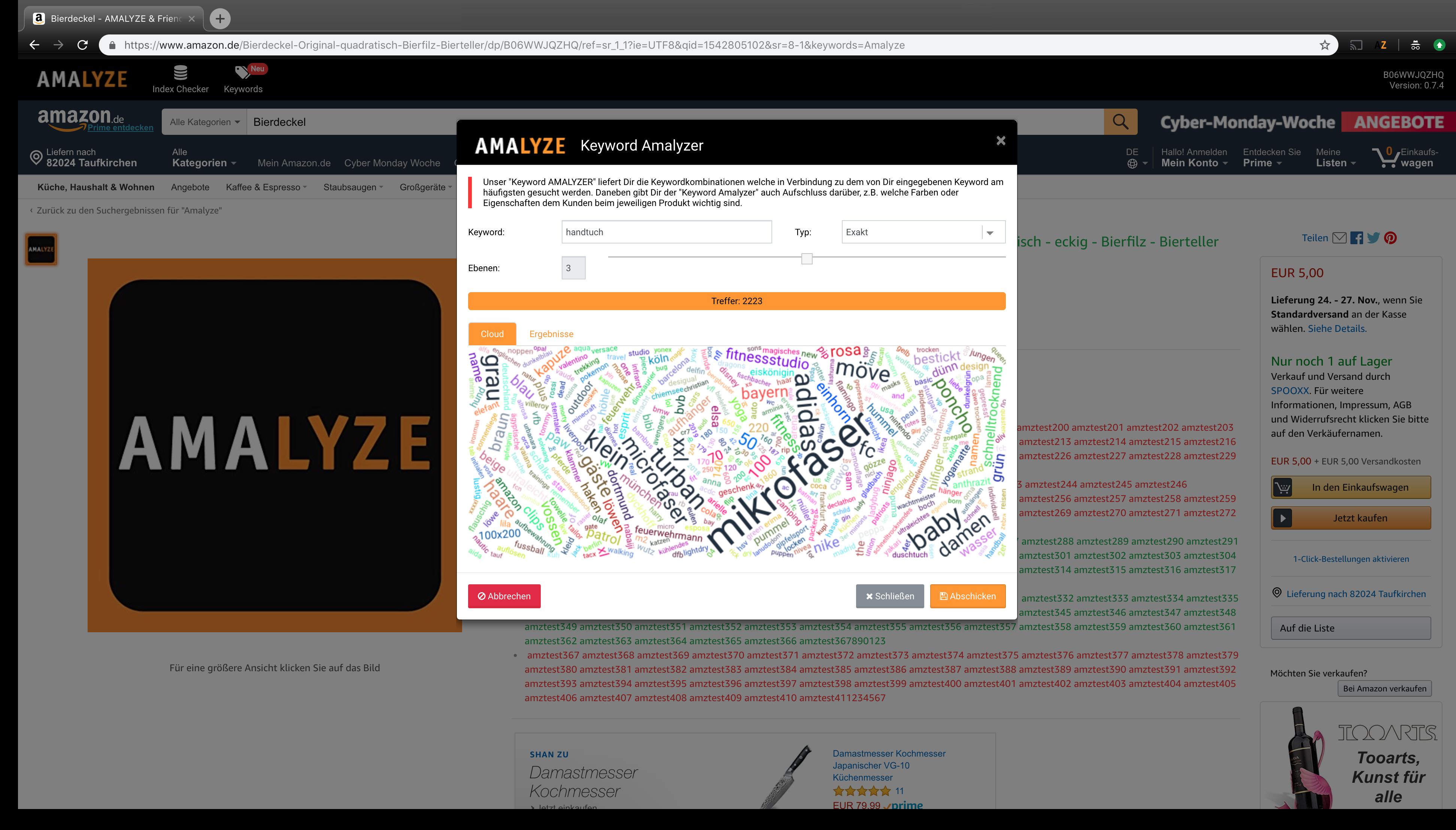 Keyword Amalyze - Eingabe des Suchbegriffs
