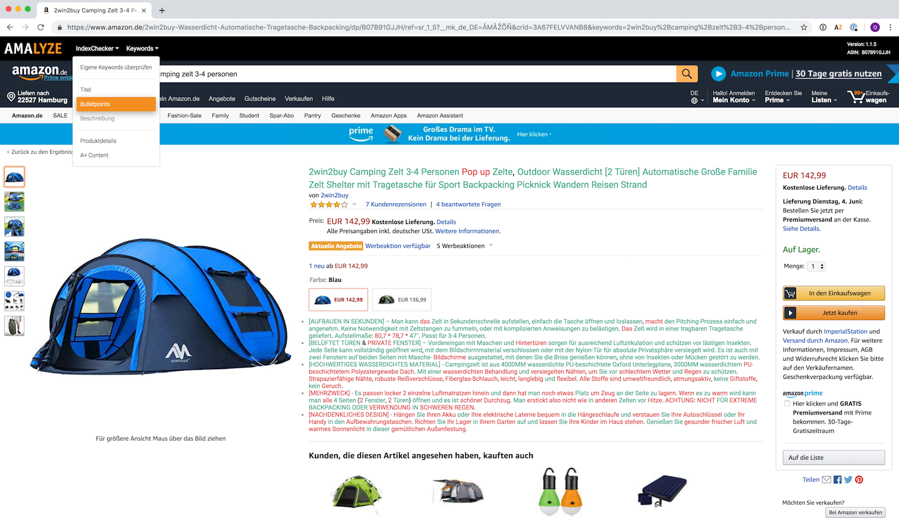 AMALYZE Chrome Extension_Amazon Index Checker Funktionen und Anleitung