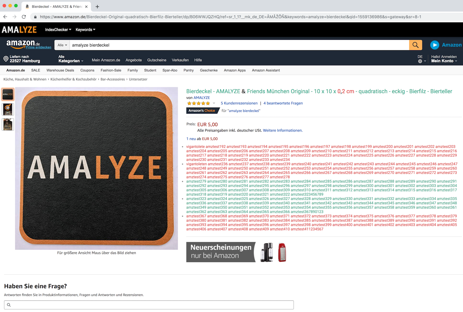 AMALYZE Chrome Extension_kostenloses Amazon Tool ASIN Onpage Index Check