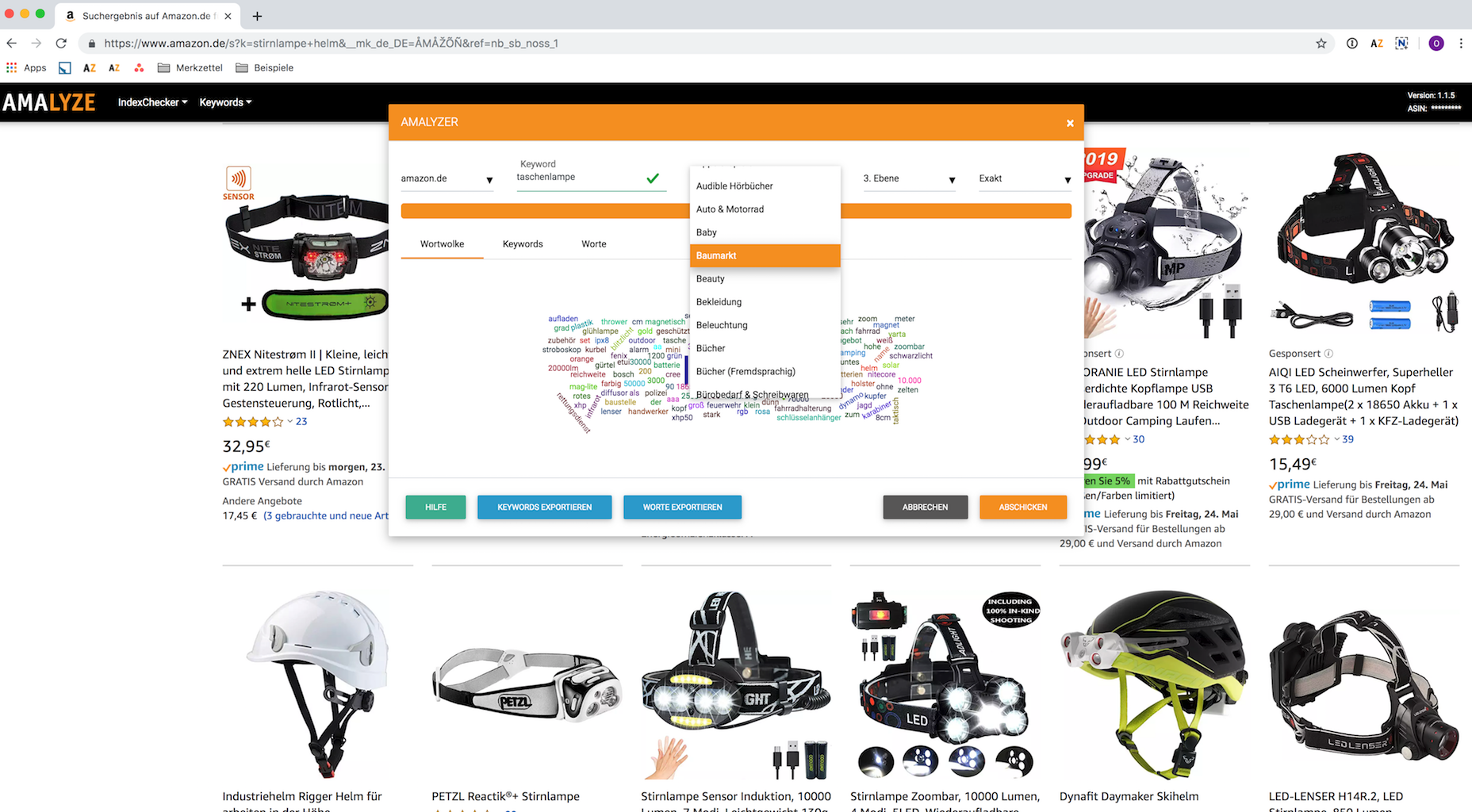 Amazon Keyword AMALYZER_Suggest Keywords-Suche bezogen auf Amazon Hauptkategorie