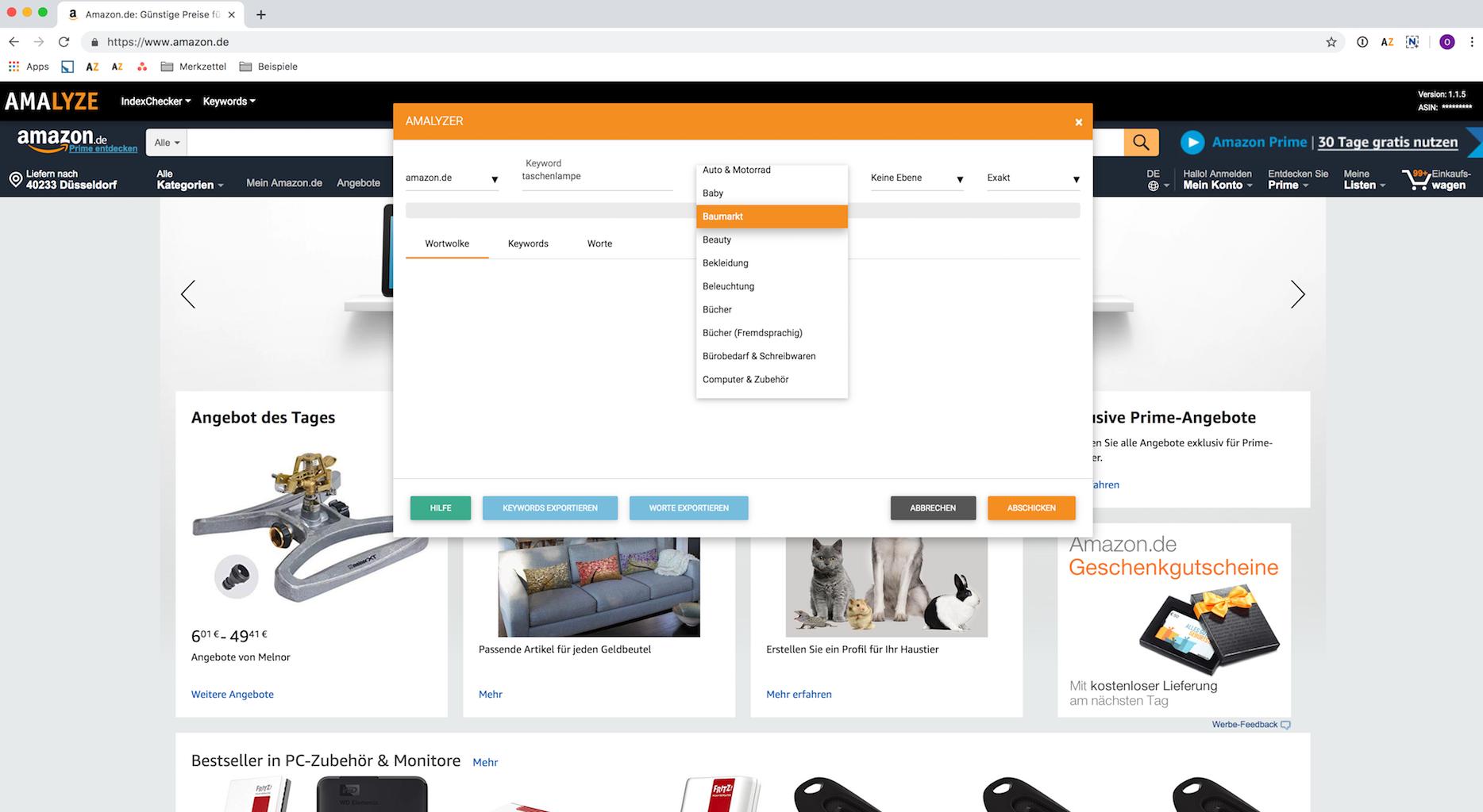 Kostenloses Amazon Tool_AMALYZE Keyword AMALYZER, Grundeinstellungen