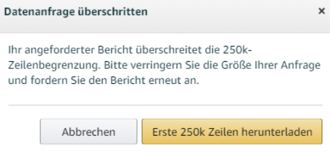 Amazon Brand Analytics Auswertung Abfragelimit