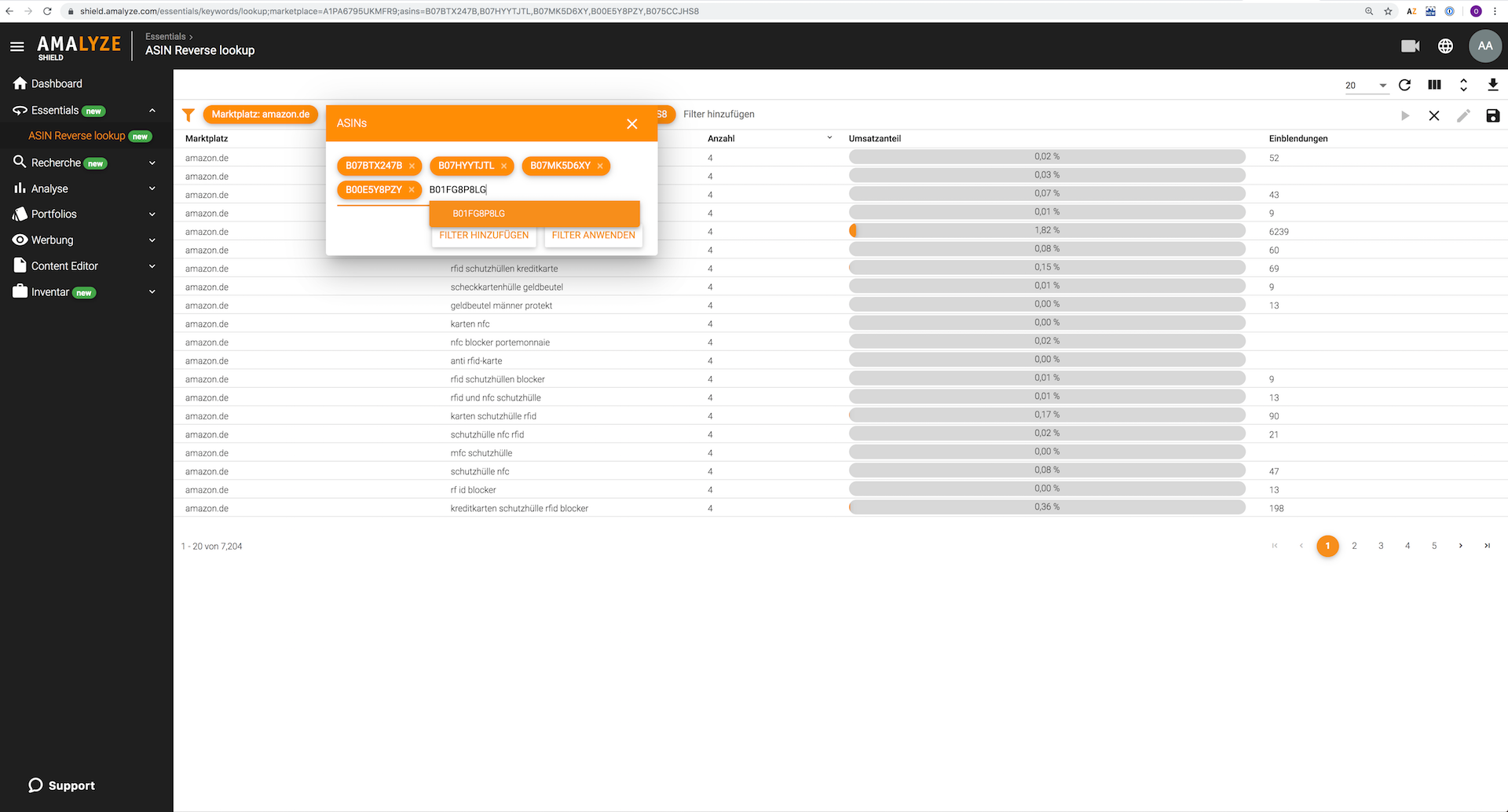 Amazon Tool AMALYZE_ASIN Reverse Lookup_Hinzufügen von ASINs zur Keyword Analyse