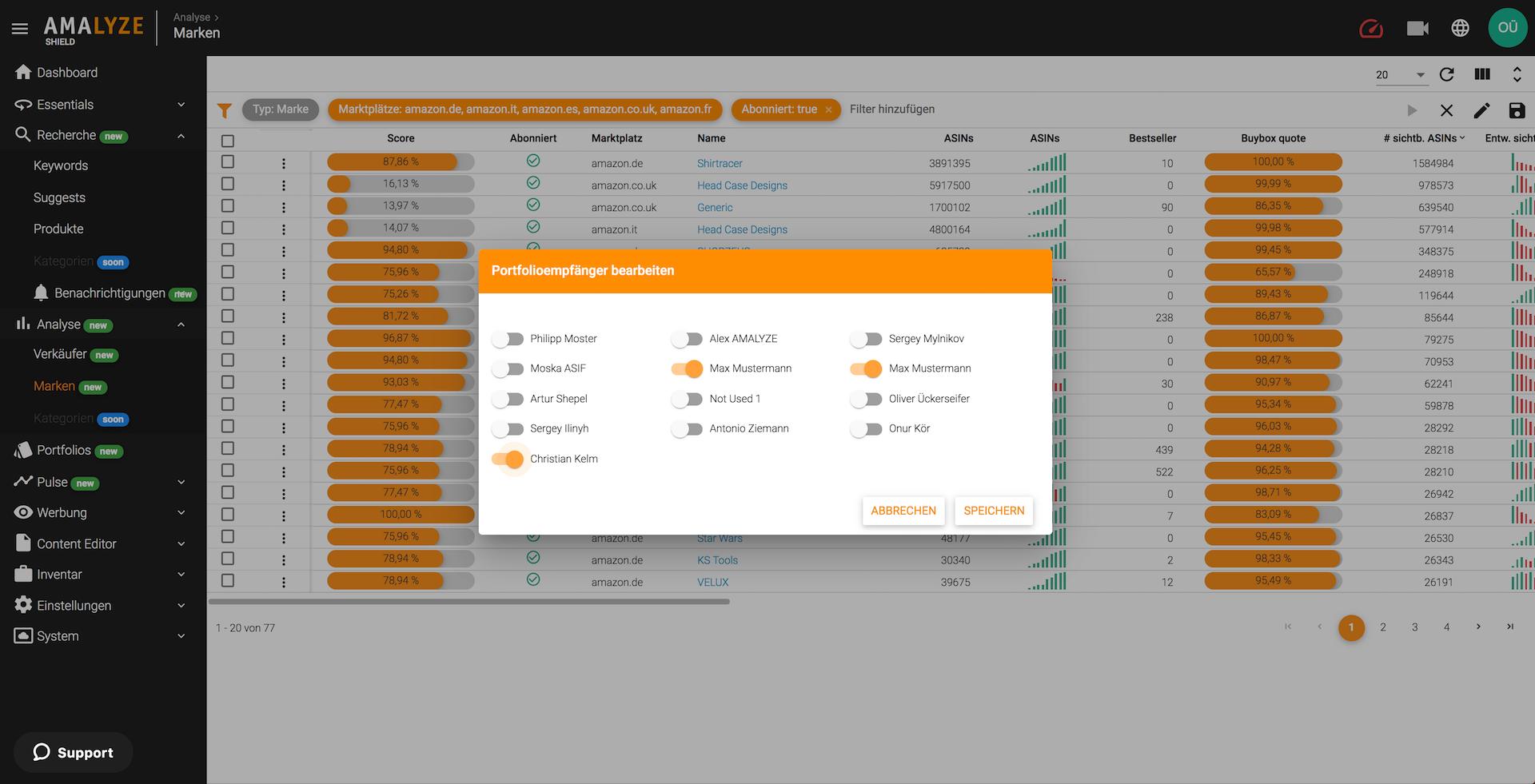 Amazon Tool AMALYZE Shield_Seller und Markenanalyse Empfänger hinzufügen oder abbestellen
