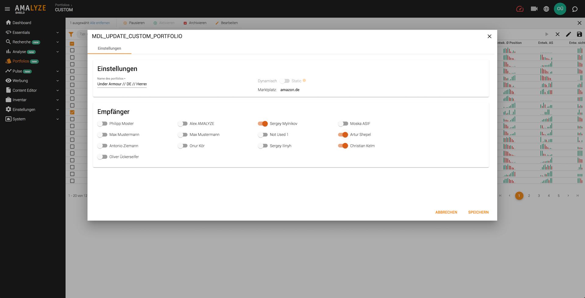AMALYZE Shield Empfänger für PDF Updates verwalten