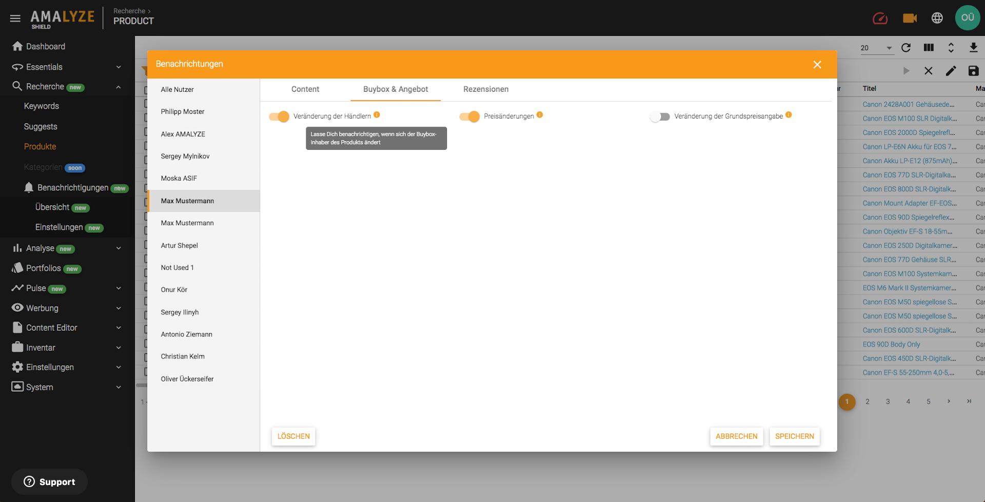 AMALYZE Shield_Benachrichtigungen Auswählen und Nutzern zuweisen