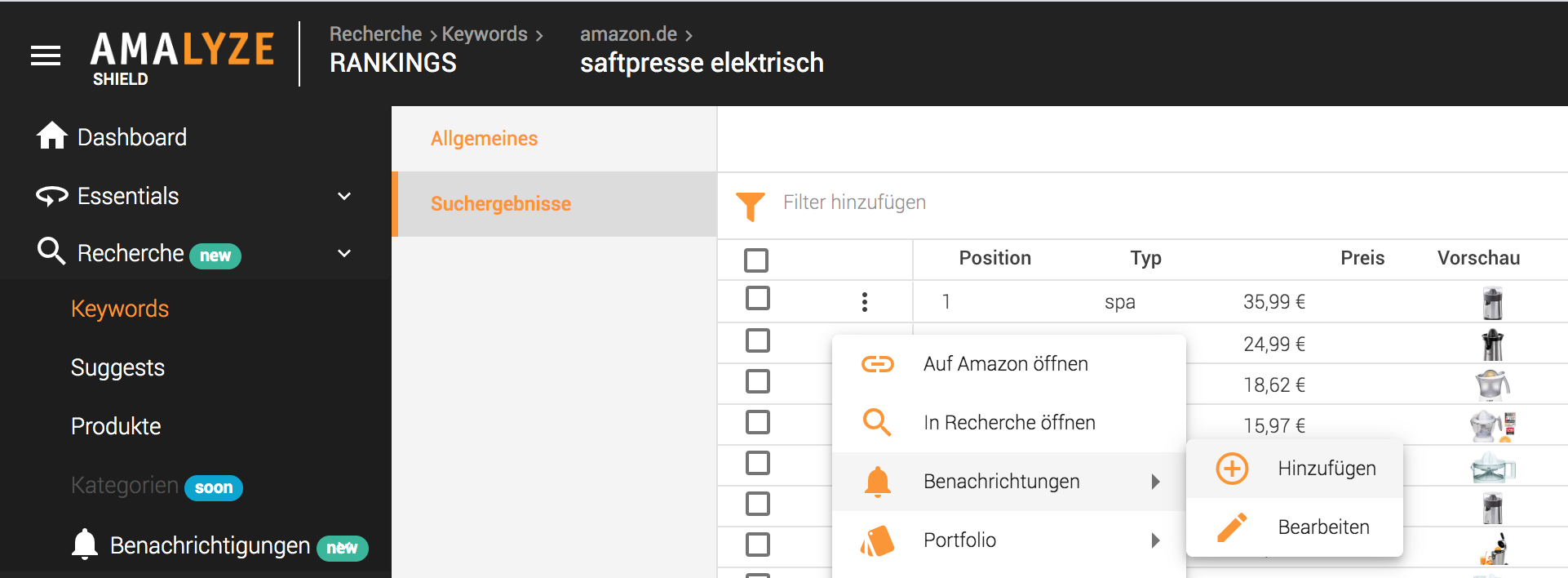 Notifications FAQ_Einzelne benachrichtigung anlegen über Keyword Suchergebnisse