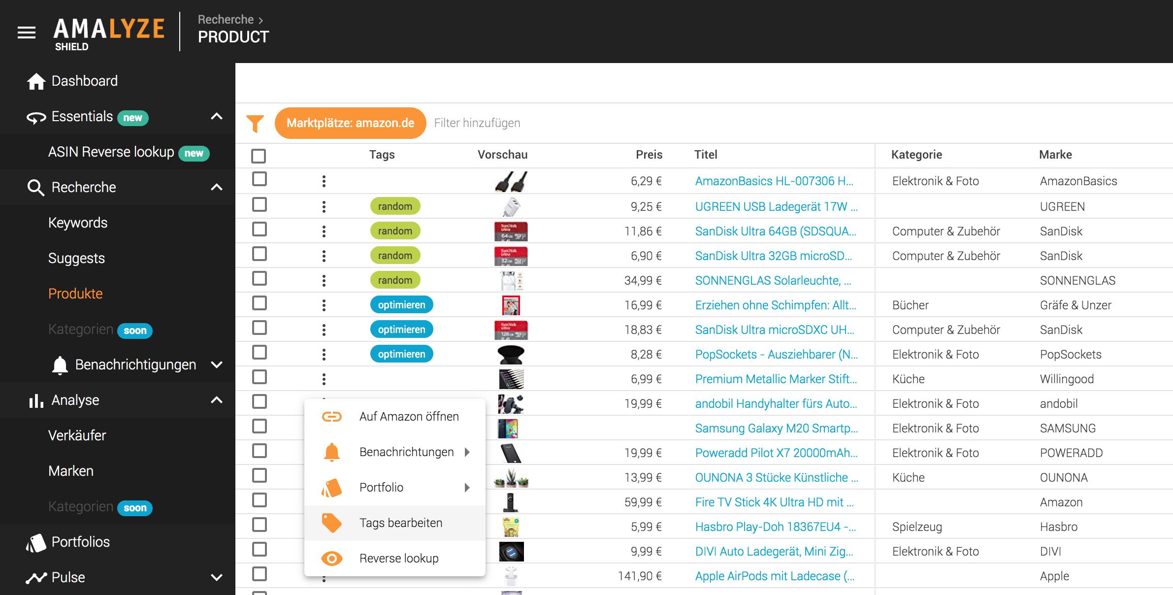 Rcherche_Produkte_Tabellen Aktionen_Tags auf Produkt setzen
