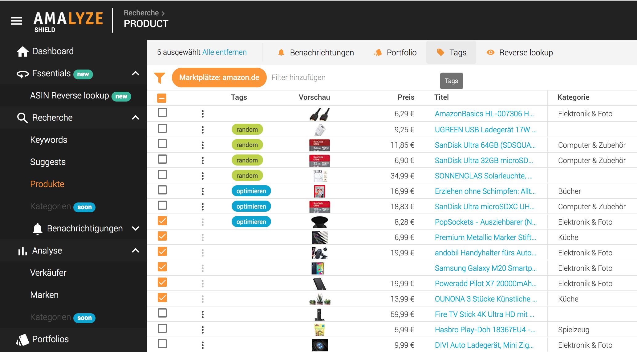 Rcherche_Produkte_Tabellen Aktionen_Tags auf mehrere Produkte setzen