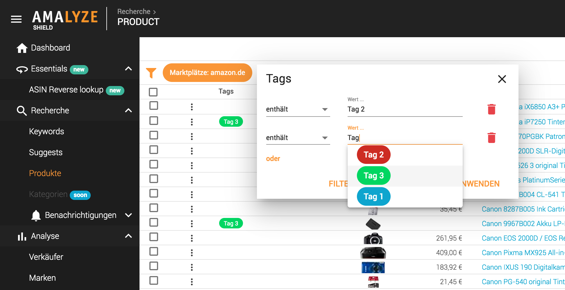 Recherche_Produkte_Tabellen Tags_Filtern nach Tags
