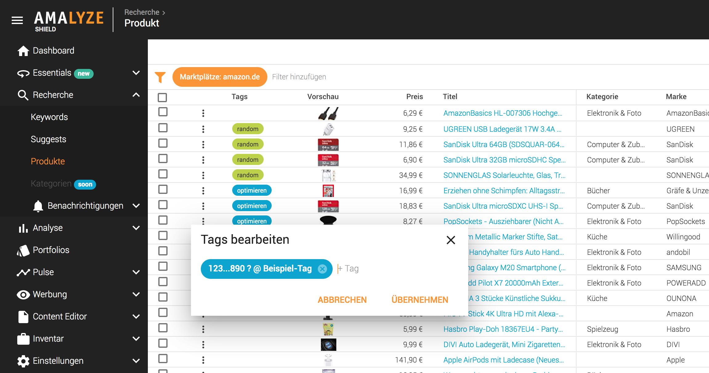 Recherche_Produkte_Tags_Beschriftung von Tags Beispiel